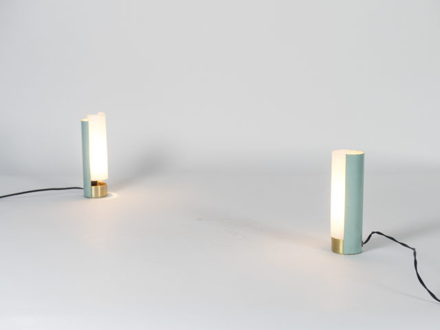Pair of perspex and metal table lamps for Stilux Milano