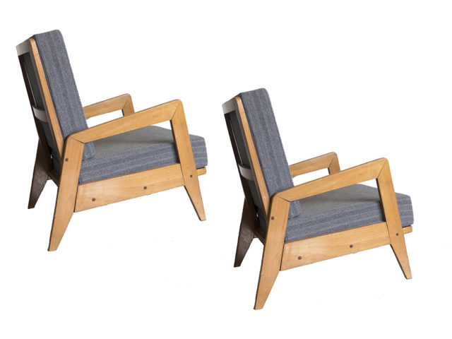 Set of 2 architectural wooden armchairs, 1940s