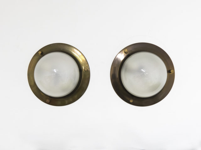 "Pair of brushed brass LSP 6 ""Tommy"" ceiling or wall lamps for Azucena"