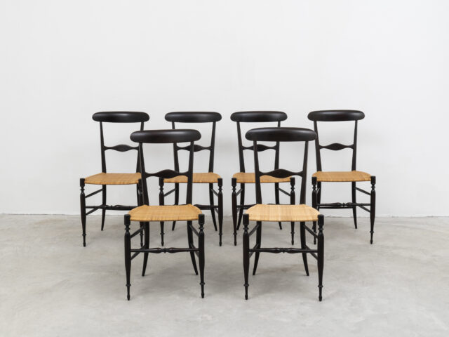 "Set of 6 mod. S 2 ""Campanino"" chairs for Azucena"