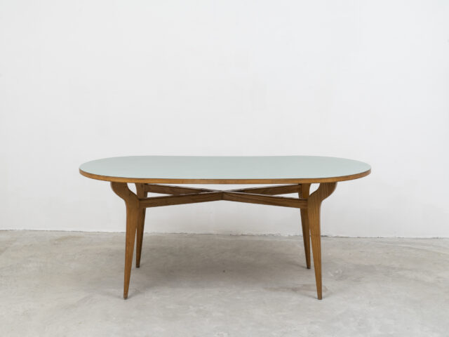 Wood dining table with formica top