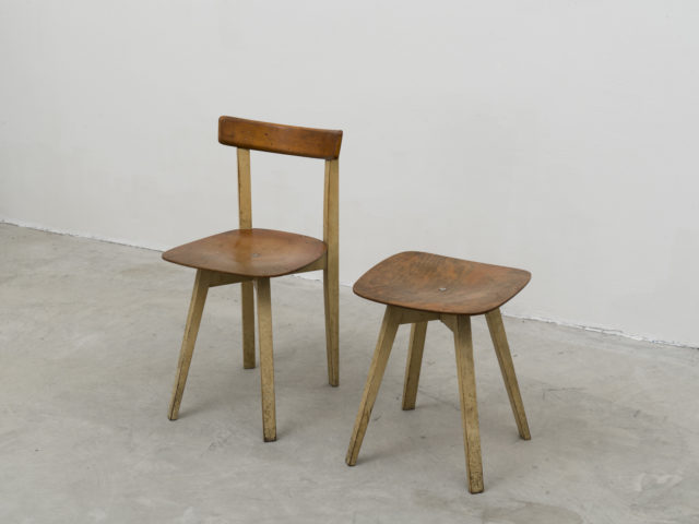 Chair and stool with crossed base for Stol Kamnik