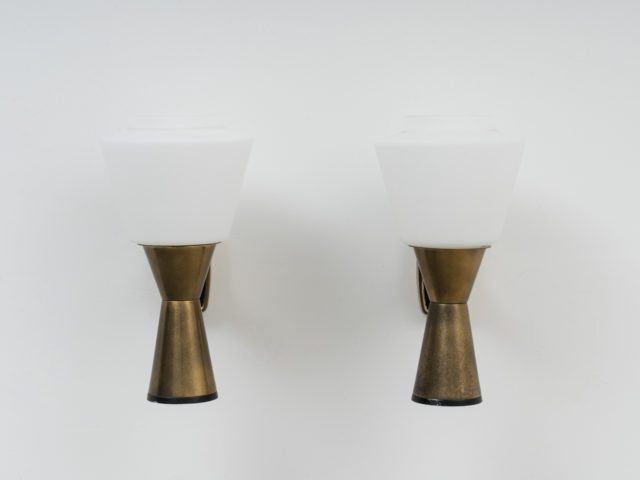 Pair of brass and opaline sconces