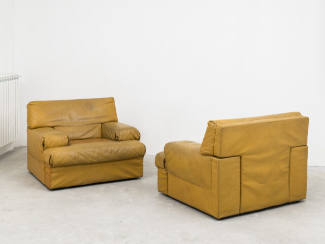 "Pair of ""Cratere"" leather armchairs for Sormani"
