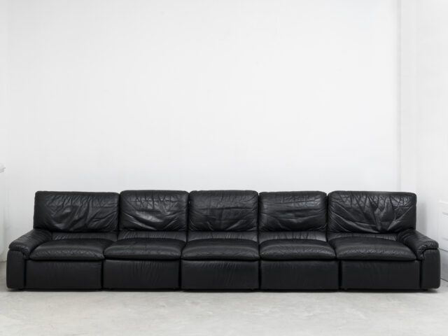 Leather 5-seater modular sofa