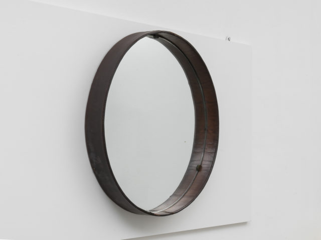 Stitched leather round mirror
