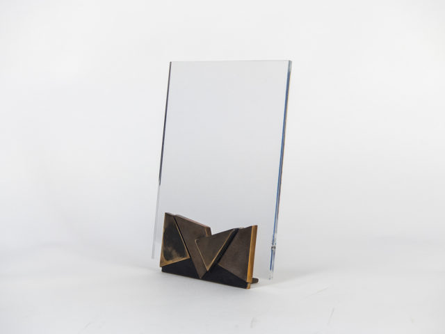 Lucite and bronze picture holder, 1970s