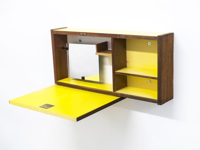 Rare wall mounted cabinet with mirror for Fantoni