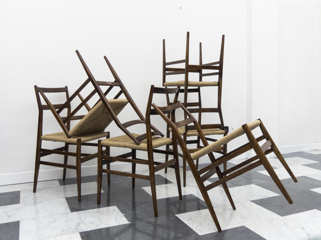 "Set of 6 ""metal label"" mod. 646 ""Leggera"" chairs for Cassina"