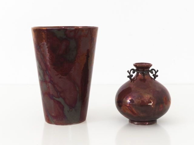 "Set of 2 of rare ""lustro"" ceramics for SCI Laveno"