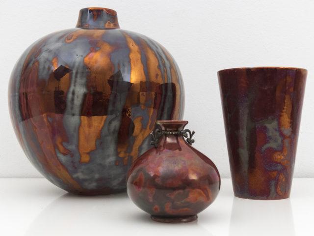 """Set of 3 rare """"lustro"""" ceramics for S.C.I Laveno"""