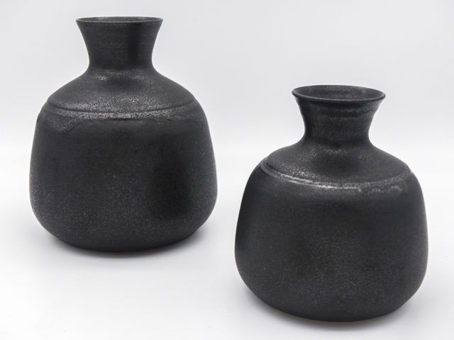 Set of 2 black vases for Ceramica Arcore
