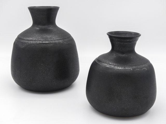 Set of 2 black vases for Ceramica Arcore