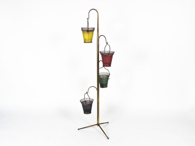 Brass tripod floor planter
