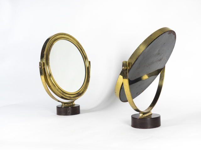 Pair of brass table mirrors