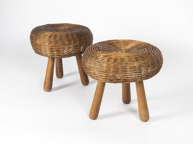 Pair of wicker stools
