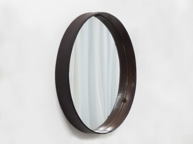 Stiched leather round mirror